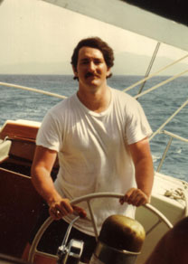 Lew sailing the Reve in the Grenadines in 1975.