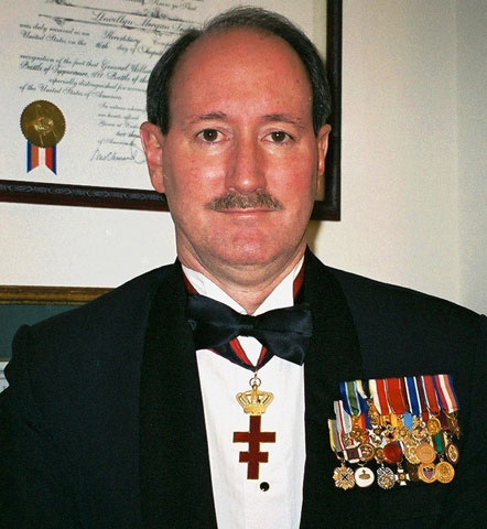 Lew with his membership medals in Hereditary Society Community organizations.